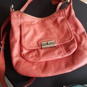 Used coral coach bag